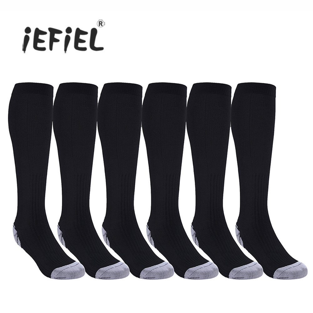 iEFiEL Brand High Quality 3 Pairs Unisex Men Women Compression Knee High Nylon Socks Leg Support Stockings Blood Circulation ...