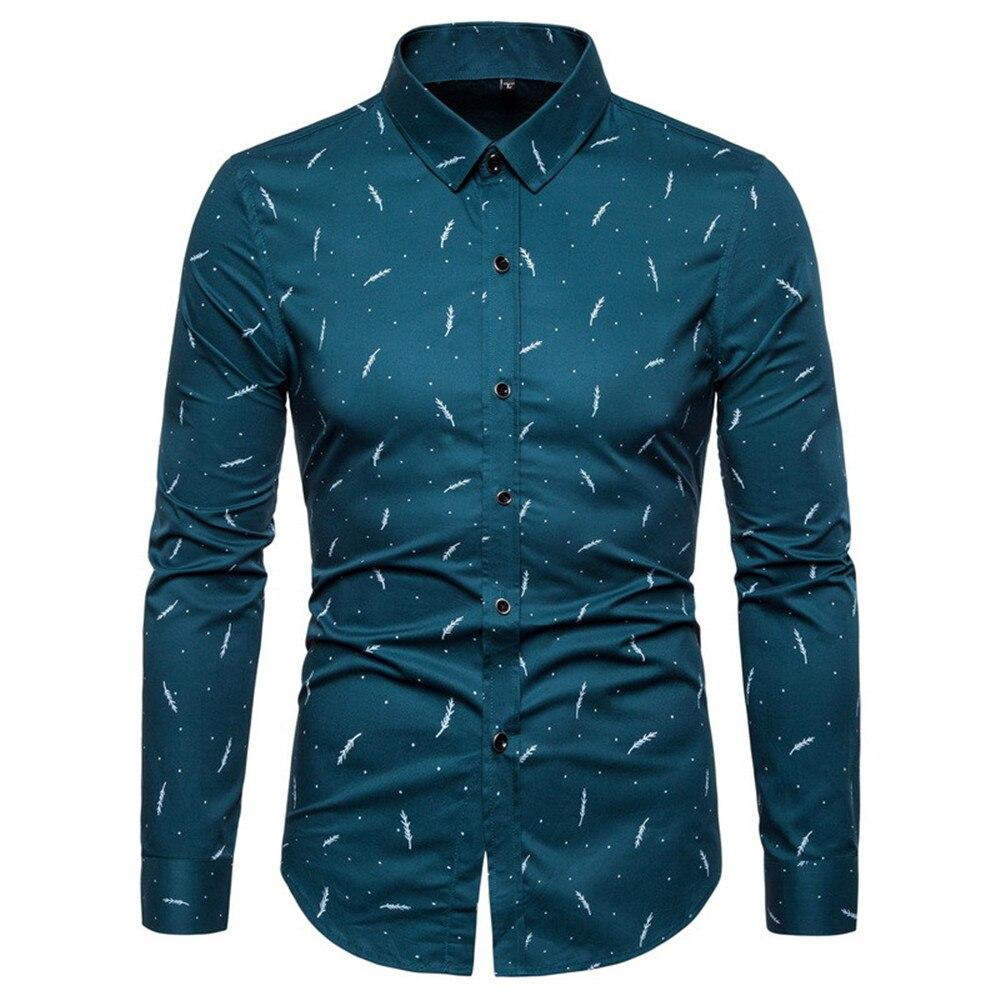 Dropshipping 2019 Brand Clothes Men Shirts Solid Print Long Sleeve Shirts Men Casual Slim Fit 100% Cotton Shirt Men