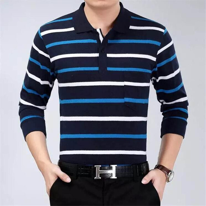 Cotton   Polos   Men Long Sleeve Mens   Polo   Shirt Spring Autumn Striped Male   Polo   Dress Classic Business 2018 Father Gift Drop Ship
