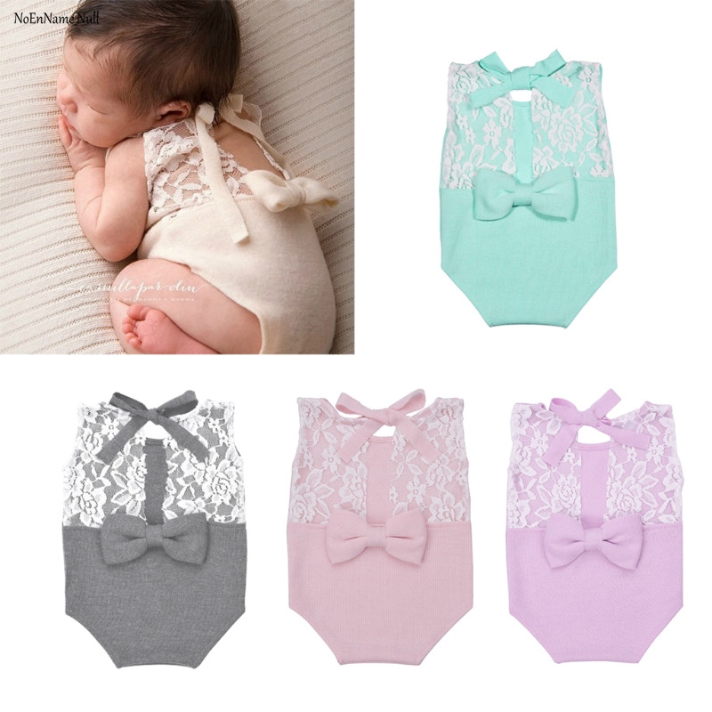 NoEnName-Null Newborn Photography Prop Baby Stretch Lace Props Romper Knit Dainty