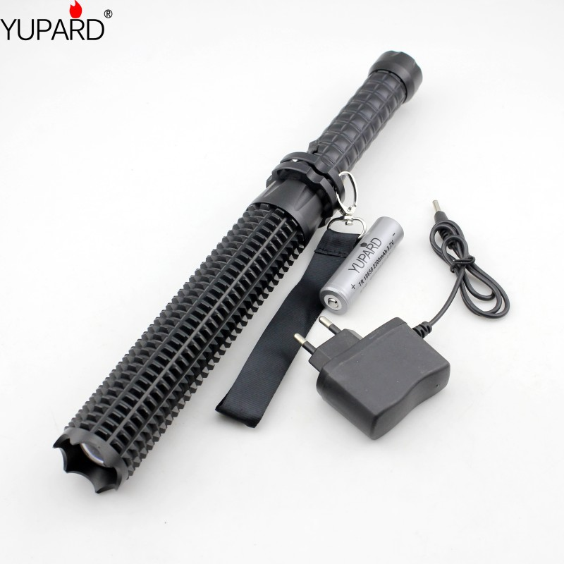 YUPARD Powerful led flashlight 18650 XM L2 self defense Patrol LED high power rechargeable flashlight+battery+charger gift box cree q5 high power led flashlight waterproof searchlight rechargeable patrol lights 18650 battery charger outdoor light