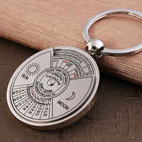 Perpetual Calendar Keyring Keychain Unique Metal Keys Chain Ring Fobs Trinket Ornament Accessories 50 Year novelty fine jewelry