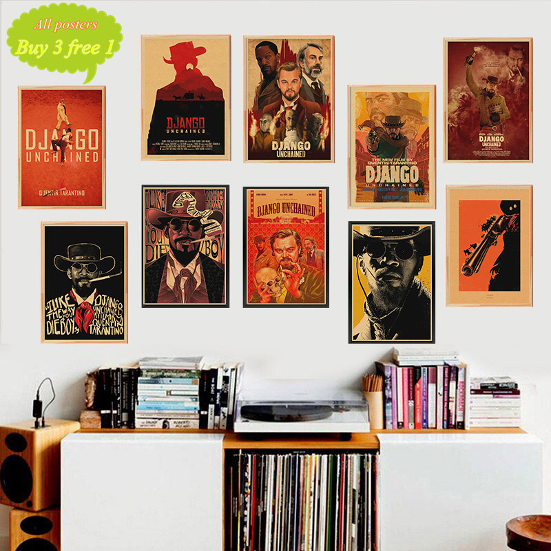 Classic Movie Django Unchained Quentin Tarantino Retro Poster Kraft Paper Bar Cafe Home Wall Decor Painting image
