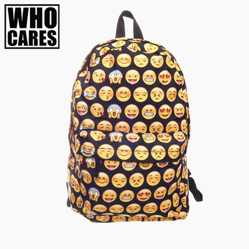 Emoji black 3D printing 2017 High Quality Women Canvas Backpacks Smiley  School Bag For Teenagers Girls Shoulder Bag Mochila emoji black 3d printing 2017 high quality women canvas backpacks smiley school bag for teenagers girls shoulder bag mochila