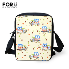 FORUDESIGNS Women Messenger Bags Cartoon Owl Prints Crossbody Kids Purse Small Phone Coin Kawaii Animal Mini Flaps