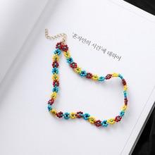 Богемное ручной работы радужные бусы ожерелье в богемном стиле Конфета цветные бусы ожерелье со спутником женские модные ювелирные изделия