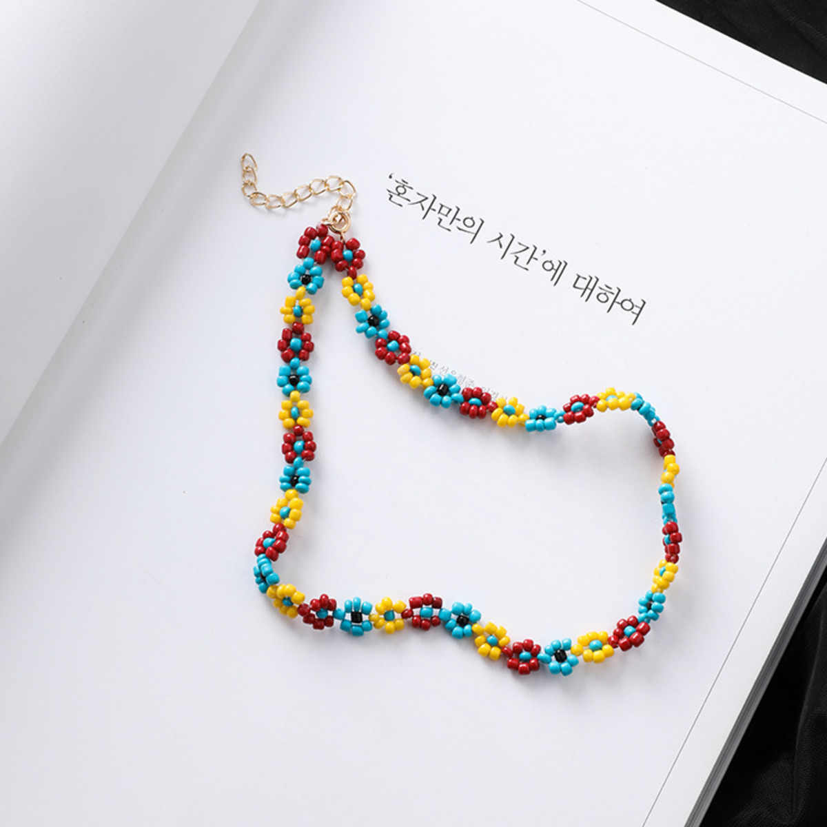 Bohemian Handmade Rainbow Beads Choker Necklace Boho Candy Color Bead Satellite Necklace Women Fashion Jewelry