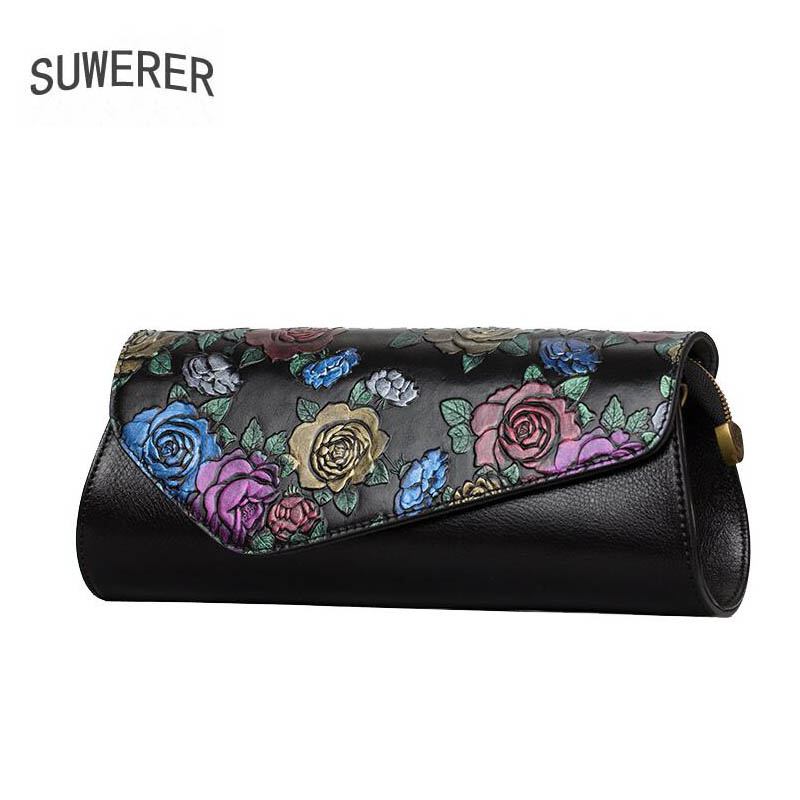 SUWERER 2018 new Genuine Leather women bags for women luxury rose embossed handbags women bags designer clutch bag Shoulder Bag