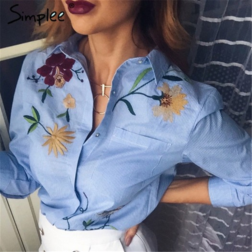 Women Blouses Hot Sale Regular Fashion Broadcloth Blouse Blusa 2017 New Women Shirts Embroidered Striped Cotton Shirt Female