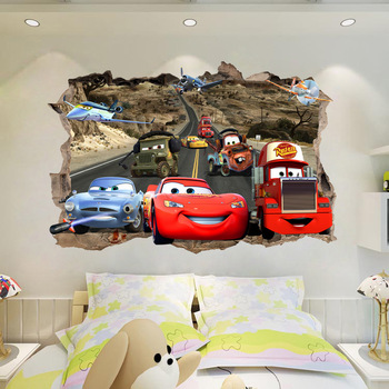 Lightning McQueen Cartoon Cars Home Break The Wall 3D Wall Stickers Vinyl Decal Decor  749