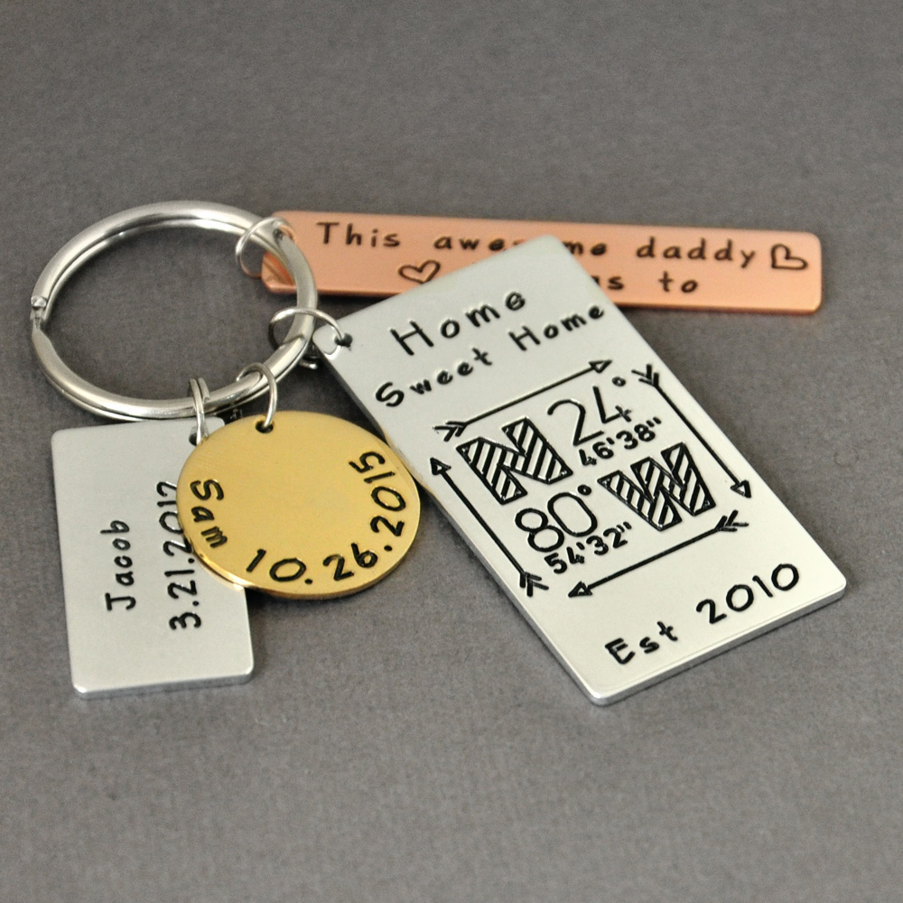 Personalized Keychain For Dad Mixed Metal Key Chain Home Sweet Home Coordinates Daddy Keychain