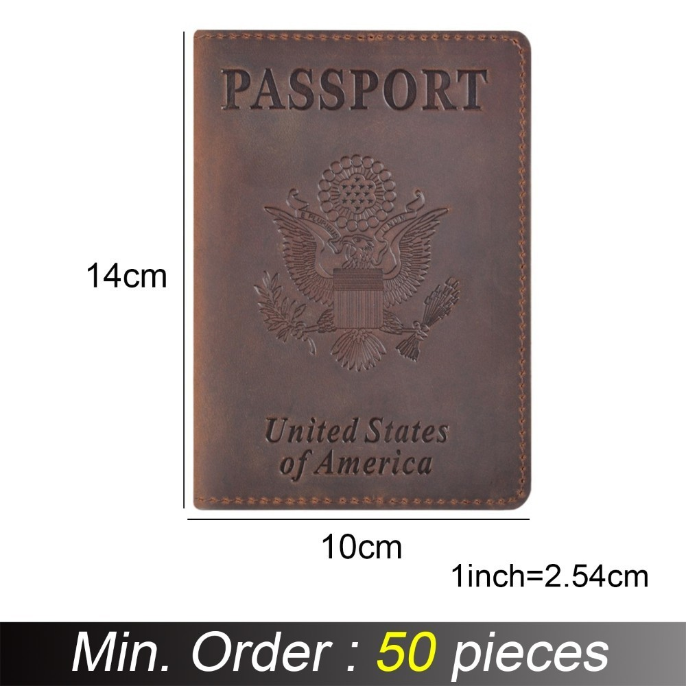 50 pieces / lot 10x14 cm Genuine Leather Passport Cover for United States of America Solid Credit Card Holder Passport Case book of america – inside fifty states today