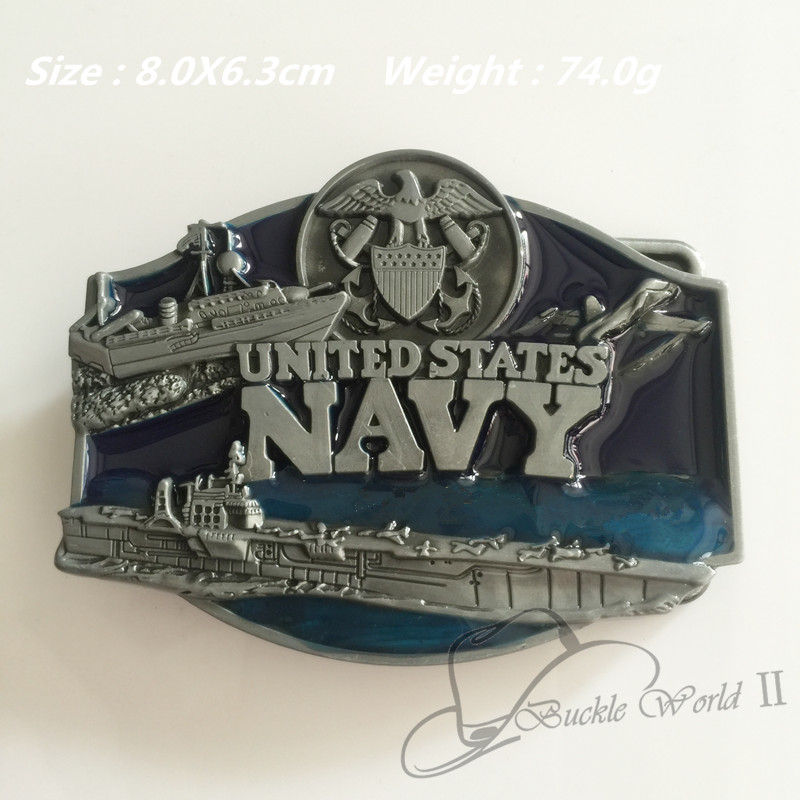 Retail New Style Cool 3D Aircraft Carrier United States Navy Metal Belt Buckle For Men Women Jeans Accessories Fit 4cm Wide Belt