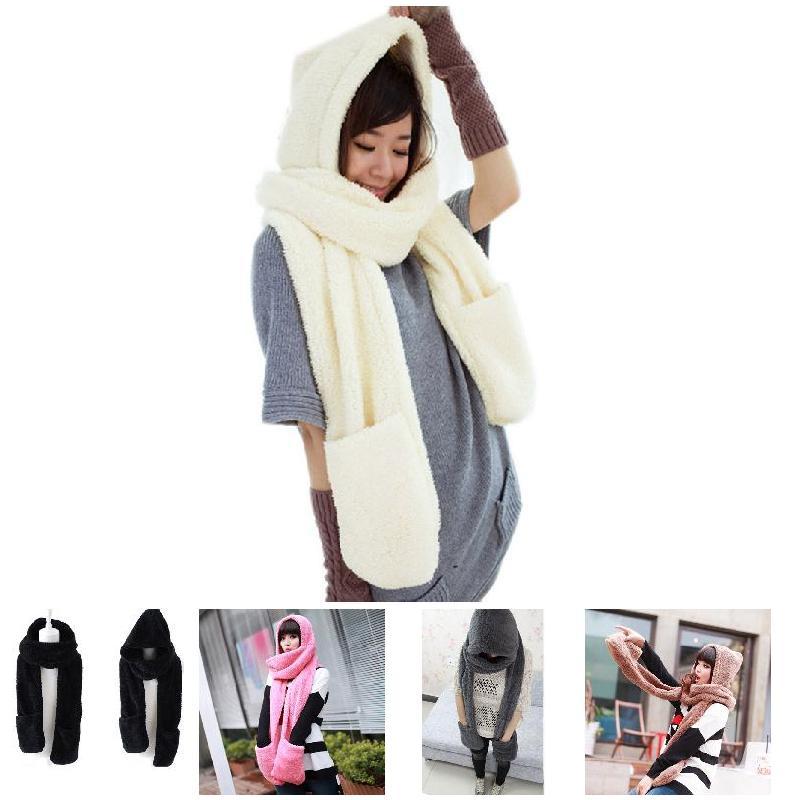 Winter Warm Women Hoodie Gloves Pocket Earflap Hat Long   Scarf   Shawl Snood   Wraps   FS99