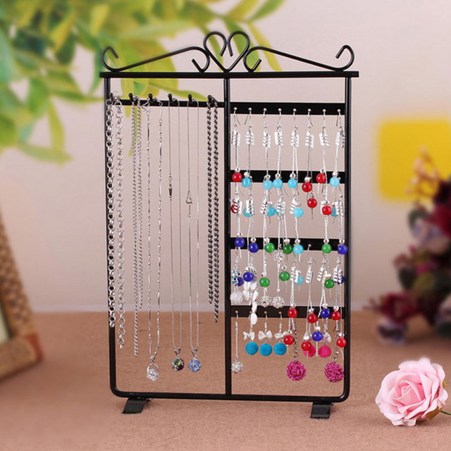 Metal Necklace Earrings Holder Jewelry Organizer Display Rack Stand Women Jewellery Showcase Packaging