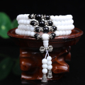 New Fashion 6mm White Tridacna Beads Tibetan Buddhist 108 Prayer Beads Necklace Gourd mala Prayer Bracelet for Meditation
