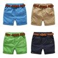 Crianças cinto calções metade do comprimento calças dos meninos das Crianças do bebê Verão calça casual sólidos