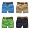 Pantalones cortos de los muchachos de los niños de medio cuerpo pantalones cinturón de los pantalones Niños del bebé del Verano sólido ocasional