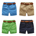 children's shorts boys' half length pants belt Kids Summer baby solid casual pants
