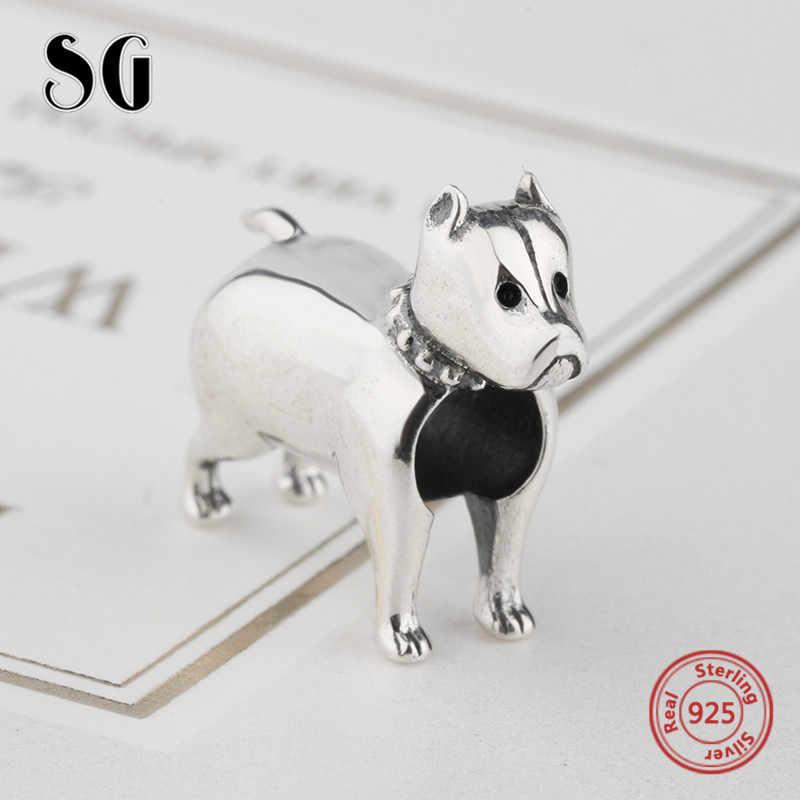 SG Стерлинговое Серебро, 925 индивидуальные бусины в виде собаки, подвески в виде животных, подходят для оригинальных браслетов pandora, ювелирные изделия для женщин, подарки