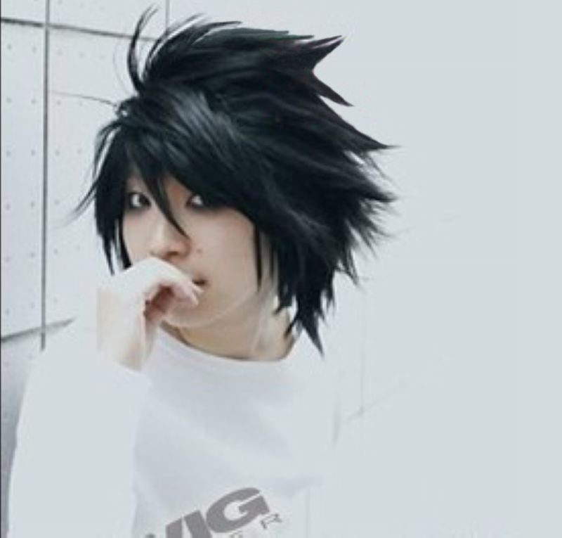 Death Note L Short Black Shaggy Layered L.Lawliet Heat Resistant Cosplay Costume Hair Wig + Wig Cap