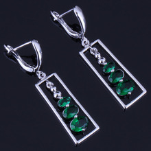 Rare Oval Green Cubic Zirconia 925 Sterling Silver Drop Dangle Earrings For Women V0831 extremely attractive dangling earring blue green and clear oval cut stones of cubic zirconia big round dangle pendant earrings