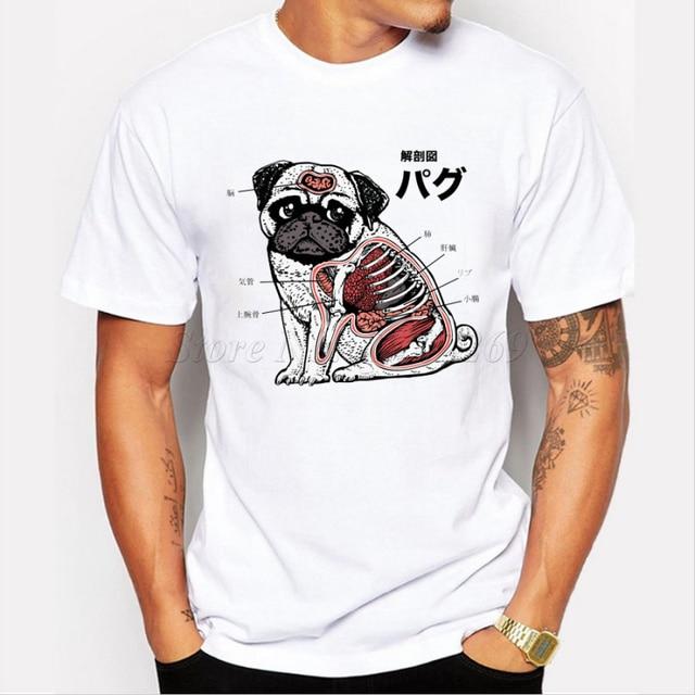 Hombres camiseta divertida PUG Anatomía de diseño de dibujos ...
