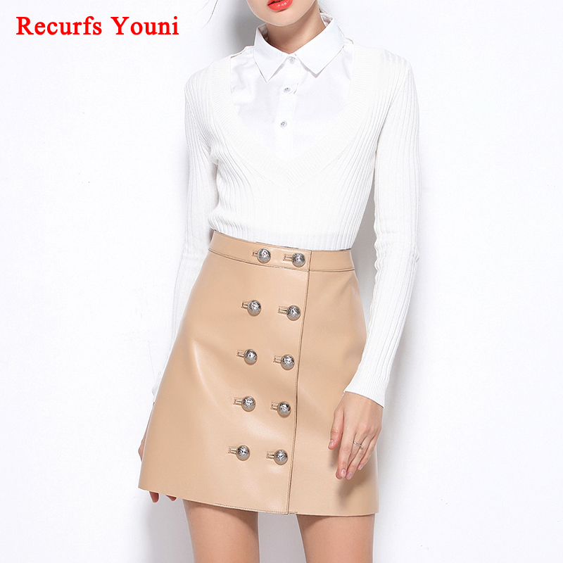 RYS1720 Spring New Genuine Leather Waist Double-Breasted Buttons Short Skirts Womens Ladies A-line Beige/Black Mujer Sexy Saia
