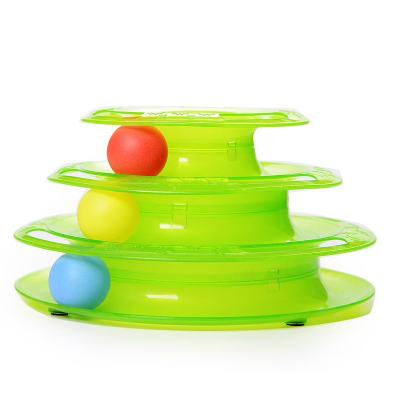 Cats Triple Play Ball Toys Tracks Disc Toys For Cats Entertainment Plank Play Chat Three Levels Tower Station For Cats