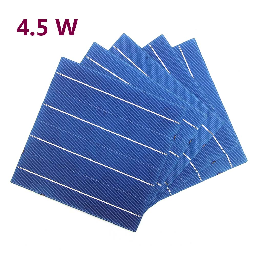 60 Pieces Photovoltaic 156MM 4.5W Poly Silicon Solar Cell 156MM*156MM For DIY Solar Panel