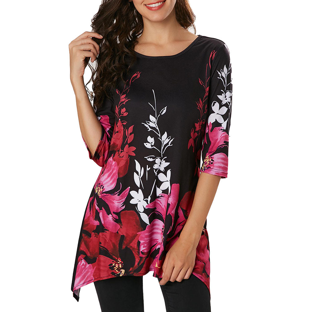 ropa mujer verano 2018 Womens Casual Floral Printed Three Quarter Sleeve Tops Blouse Shirt Bohemian Sytle Ladies Blouses Femme(China)