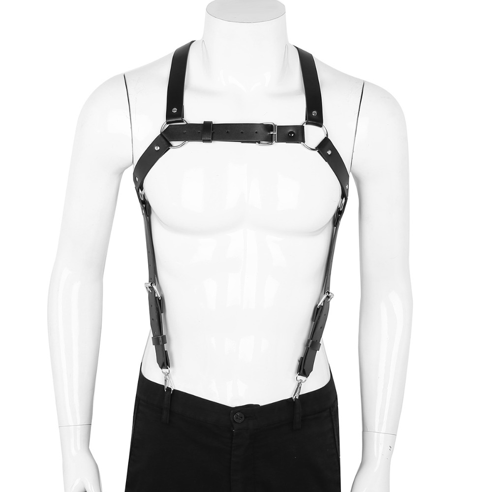 IEFiEL 男性メンズランジェリー PU レザー X バックボディ胸ハーネスサスペンダーベルトバックルとコスプレクラブ衣装セクシーなナイトウェア