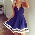 2017 Новый Плюс Размер Женщины Лето Ремень Bodycon Клубная Одежда Коктейль Blue Beach Club Skater Mini Short Dress