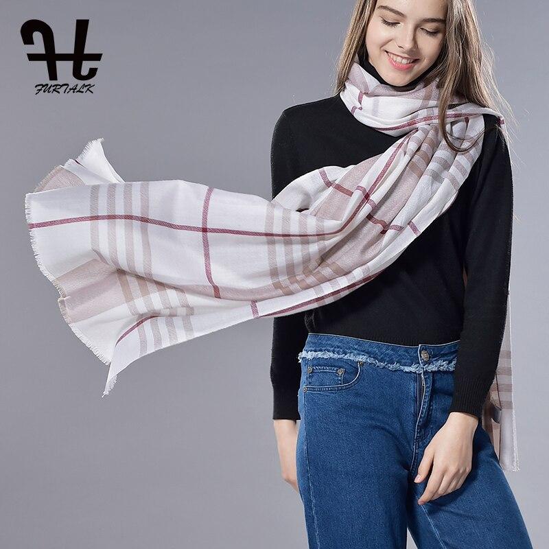 FURTALK Unisex Spring Lamb Wool   Scarf   Plaid Soft Elegant   Scarf   Women Scotland Check Plaid Wool   Scarf     Wrap   Camel White Black 2019