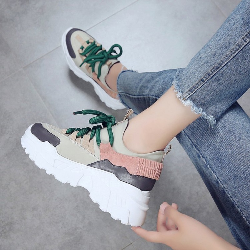 Women Casual Shoes 2018 Autumn Thick Bottom Women Shoes High Platform Lace-Up Fashion Hight increasing Women Sneakers 9h30 smile circle spring autumn women shoes casual sneakers for women fashion lace up flat platform shoes thick bottom sneakers