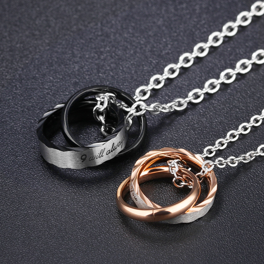 3f4e57d8fc Detail Feedback Questions about AENINE Stainless Steel Couple Pendent Necklace  His & Hers Fashion Matching Set Romantic Couple Jewelry Collier OGX860 on  ...