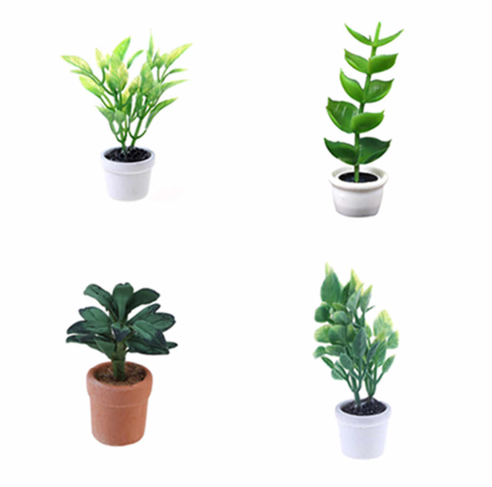 Simulation Potted Plants Green Tree Potted For 1:12 Dollhouse Miniature Green Plant In Pot Doll House Furniture Home Decor