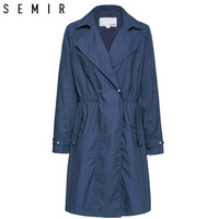 SEMIR dust Coat British style Women's Trench Coat Fashion Slim Solid Double Breasted Ties medium long wind breaker Female Coats