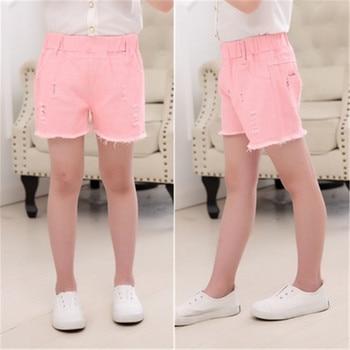 Baby Teenager Shorts Summer Denim Shorts For Girls White Pink Teens Girl Short Jeans 3 4 5 6 7 8 9 10 12 15 Years Old Kids 4