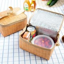 Vogvigo Portable Zipper Tote Outdoor Travel Organizer Imitation Rattan Lunch Storage Bag Box Insulated Thermal Unisex