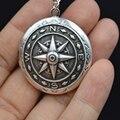 1 unids Medallones Colgante Mujeres Foto Medallones Collar de Plata Antiguo Compás de Navegación Joyería XSH265