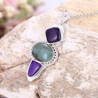 New Design Natural Purple Stone With Blue Opal Handmade Sterling 925 Silver Mosaic Beauty Gift Jewelry Sweater chain Pendant