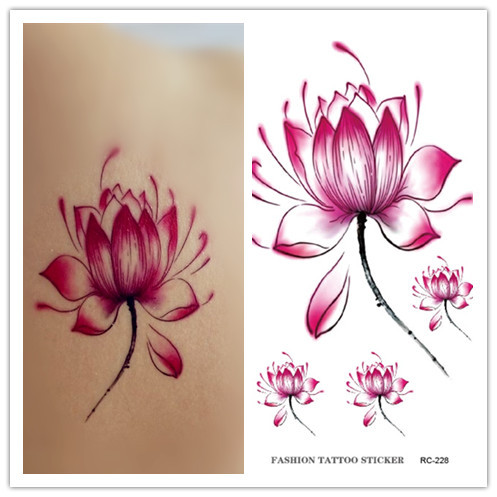 RC2228 New Waterproof Disposable Tattoo Stickers Fresh Water Lily ...