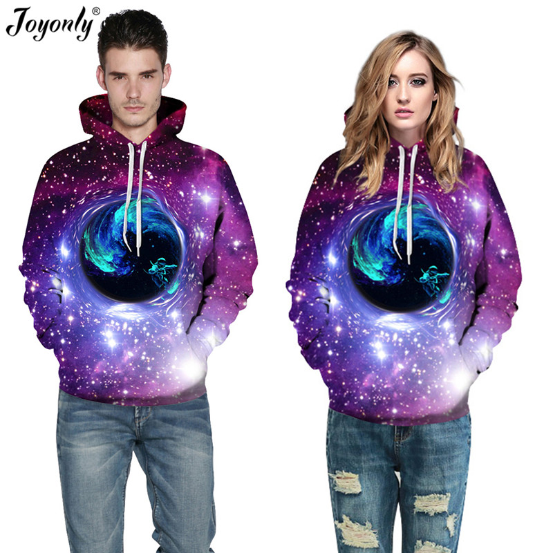 Joyonly Women/Men Space Purple Galaxy Sweatshirts Black Hole Stars Astronaut Printing Hoodies Femme Thin Hooded Pullover Tops