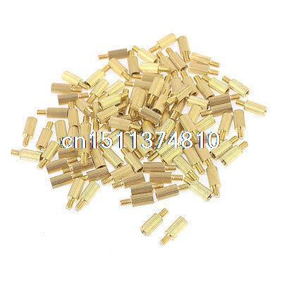 100 Pcs Male to Female Screw Brass Pillars Standoff Spacer M2x6mmx9mm