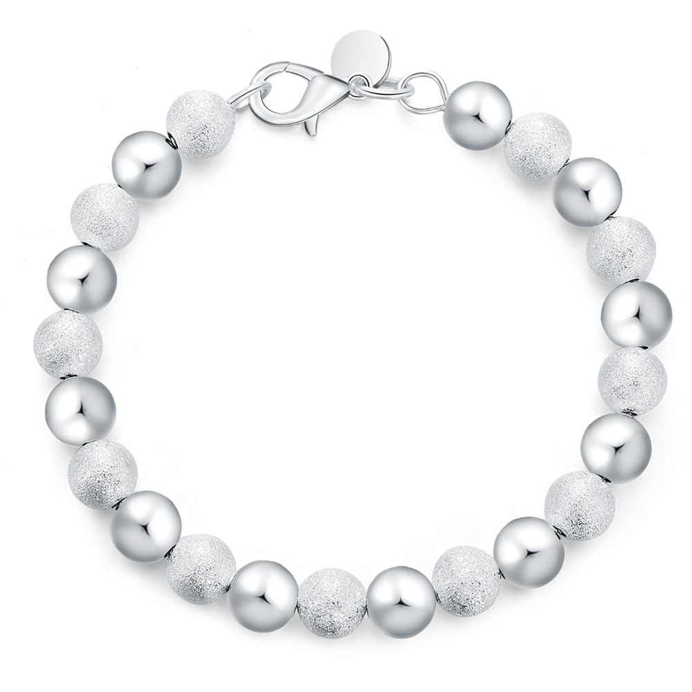d5f6068cc Silver plated exquisite sandy Beads bracelet fashion charm wedding simple  models 8MM Cute women lady birthday