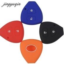 Jingyuqin 2 botões caso chave de silicone capa escudo para toyota corolla hilux vitz rav4 aqua camry highlander land cruiser pardo