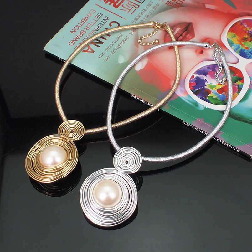 Gargantillas de perlas simuladas MANILAI, collares para mujeres, cadena de cuerda hecha a mano, Collar con babero, Maxi Collar de declaración, joyería