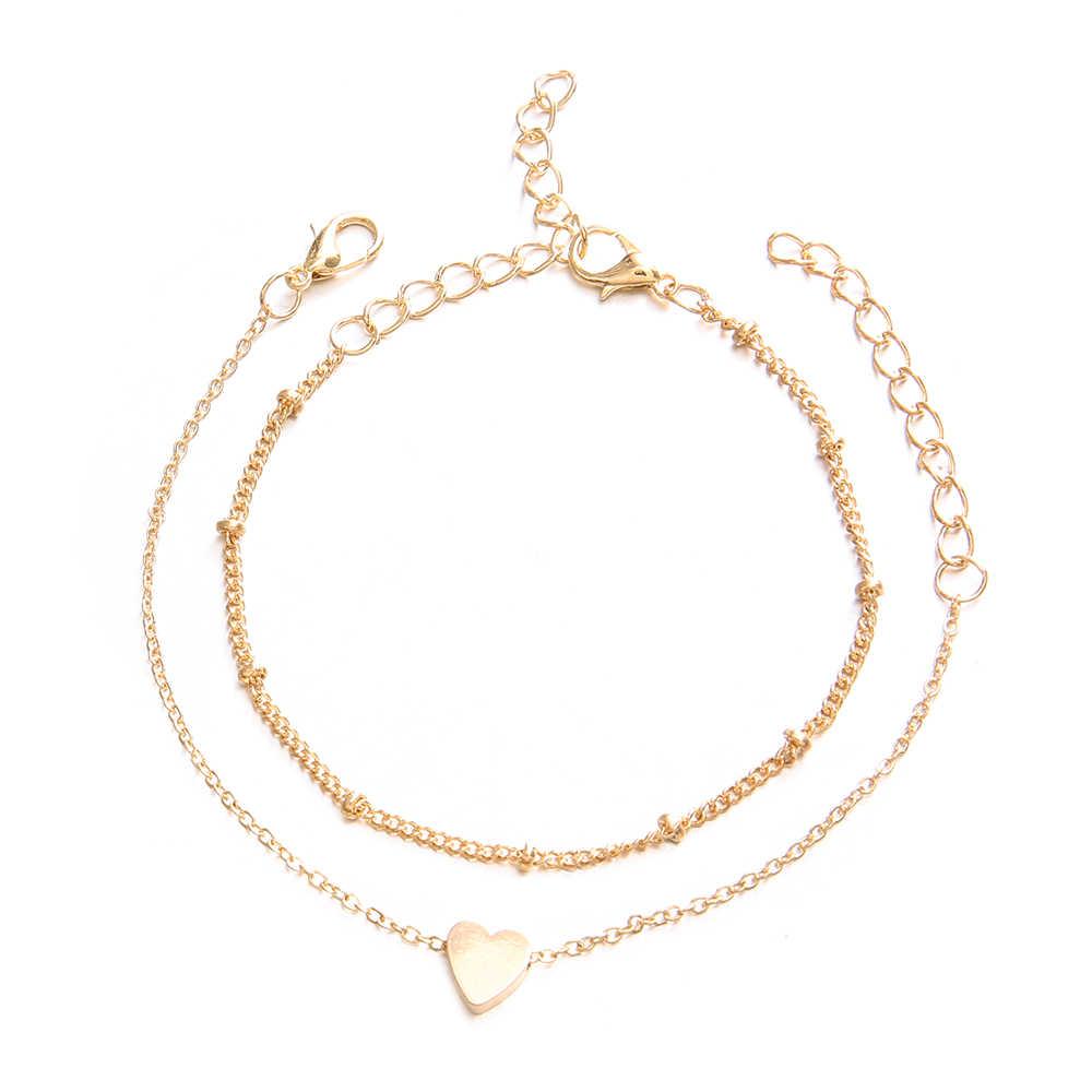 2 יח'\סט בוהמי אופנה פשוט לב חרוזים זהב כסף צמיד סט נשים קסם מסיבת חתונה תכשיטי אבזרים