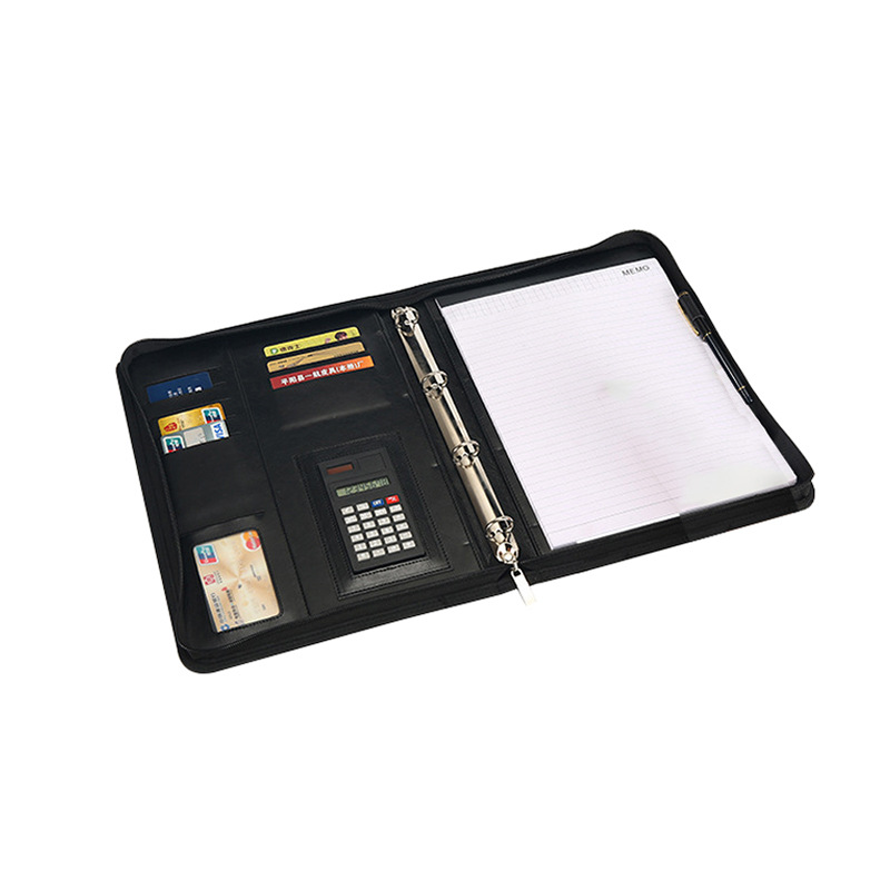 A4 Document Folder PU Leather Zipped Ring Binder Conference Bag Business Briefcase Office School Supply With Calculator Notebook